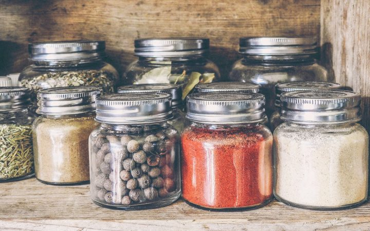 Spice Jars on a Shelf